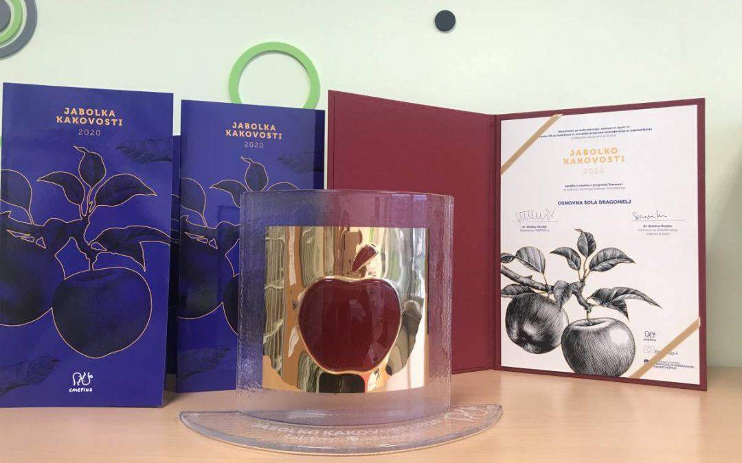 Erasmus+ – nagrada »Jabolko kakovosti« 2020 za OŠ Dragomelj